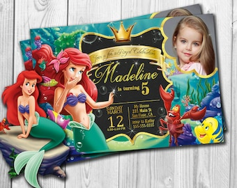 Little Mermaid  Invitation, Little Mermaid Birthday Invitation ,Little Mermaid Party, Little Mermaid Invitations , Ariel, Under The Sea