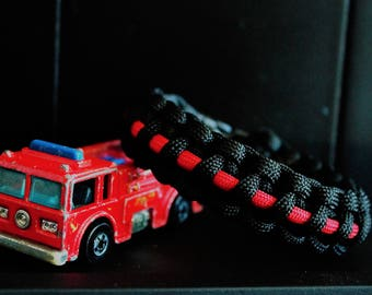 Thin Red Line Custom Handmade Firefighter Support Paracord Bracelet