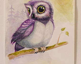 Purple owl II - original painting