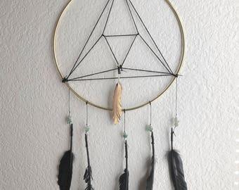 Triangle dreamcatcher, dreamcatcher, agate dreamcatcher, black and gold dreamcatcher, boho wall hanging, wall hanging, geometric decor