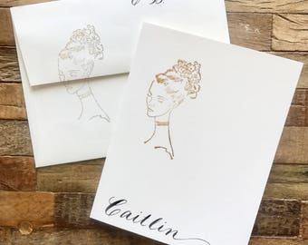 La Coquette Plume's hand-stamped, hand-lettered notecards & envelopes. Series 1.