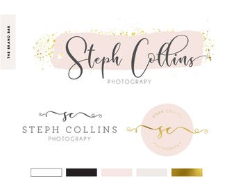 Gold Glitter Foil Watercolor Logo Premade logo design Pre made branding kit set handwritten calligraphy font brush stroke watermark