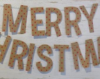 Merry Christmas Garland, Gold Christmas Decor, Merry Christmas Banner, Merry Christmas Bunting, Red Merry Christmas Decor, Polka Dot Decor
