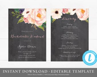 Instant Download | Simple Calligraphy Bachelorette Weekend Invitation and Itinerary Card | Editable, Printable | Floral Boho Bridal Shower