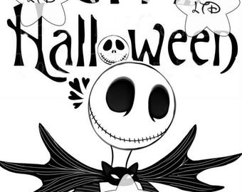Jack Skellington Happy Halloween Iron On Transfer