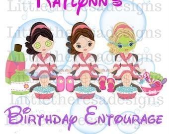 Birthday Spa Entourage Transfer,Digital Transfer,Digital Iron Ons,Diy