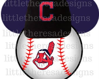 Cleveland Indians Mickey Baseball Head Transfer,Digital Transfer,Digital Iron On,Diy