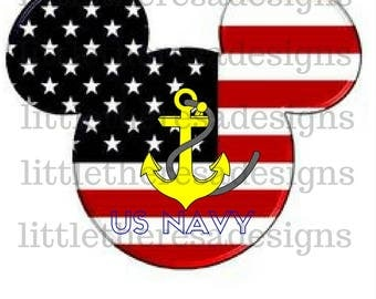Mickey U.S. Navy  Iron On Transfer,Digital Transfer,Digital Iron On,Diy