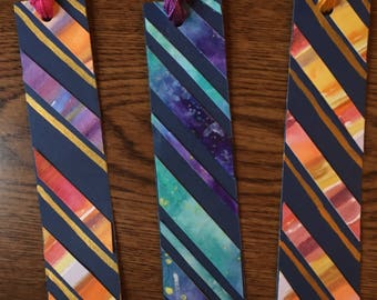 Set of 3 Diagonal Stripe Bookmarks