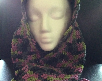 Crochet Scarf / variegated / pink, green, gray, black
