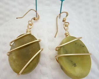Jade stone wrapped earrings