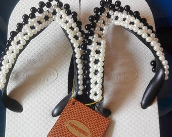 Havaianas sandals, Havaianas with pearls, sandals with pearls, Hawaiian semifinished pearl