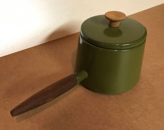 Dark Avocado Green Vintage Michael Lax Copco Fondue Pot with Teake Handle Denmark MCM