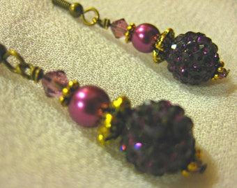 Mulberry Pave Bead Antique Gold Earrings