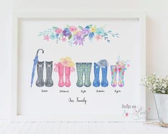 Family Wellies bespoke A4 art print
