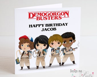 Stranger Things Demogorgon Busters Personalised Birthday Card - Ghostbusters- Eleven