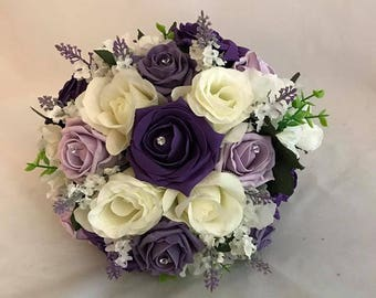 Brides / Bridesmaids Flower Arrangement Purple and White Bridal  wedding  artificial foam and Silk mix flowers