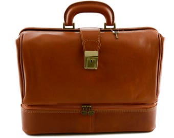 Genuine Leather Medical Bag with Double bottom