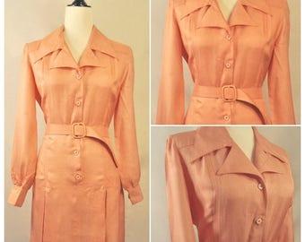 Vintage 1960s Mod Silk Button Up Collar Long Sleeve Pleated Dress Pink Peach Matching Belt & Buckle