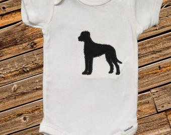 Black Great Dane Bodysuit, baby shower gift, baby  gift, embroidered body suit, baby clothing, embroidered baby clothing, baby clothes, dog