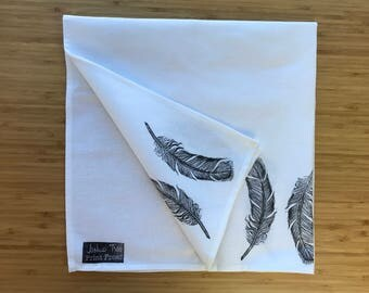 Handprinted Feather Tea Towel 100% Cotton