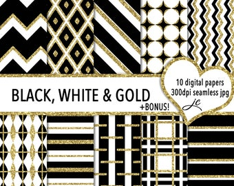 Black, White & Gold Digital Papers + Bonus Pattern File, Seamless, Textures, Backgrounds, Clipart, Personal and Commercial Use