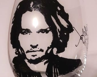 Johnny Depp hand painted stemless wine glass/tumbler/candle holder