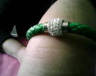 faux baked green braided bracelet