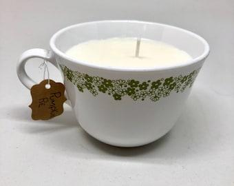 Pumpkin Pie Soy Candle / VINTAGE Corelle Spring Blossom Coffee / Tea Cup / Mug