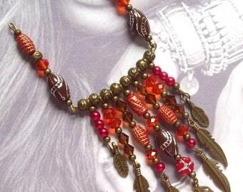 Bronze metal pendant boho Bohemian Brown Feather red beads