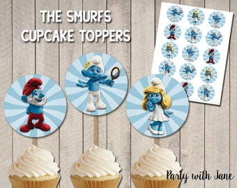 The Smurfs Blue Cupcake Toppers, Party Decor Decorations, Printables, Supplies, Smurfette, Stickers, Tags, Party Favor