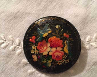 Russian Enamel Paint on Wood Brooch