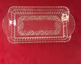 Cut Glass Rectangular Condiment/Relish Tray