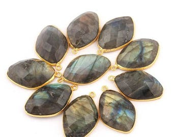 50% off 10 Pcs 24K Gold Plated Flashy Labradorite Gemstone Faceted Diamond Shape Single Bail Pendant 27mmx17mm PC0010