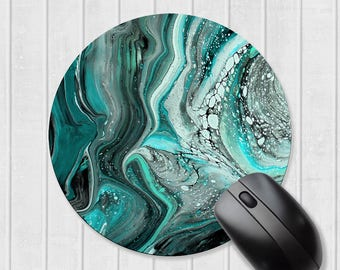Marbled mousepad, turquoise mousepad, teal mousepad, abstract mouse pad, mouse mat, gift for coworker, gift for him, gift for her