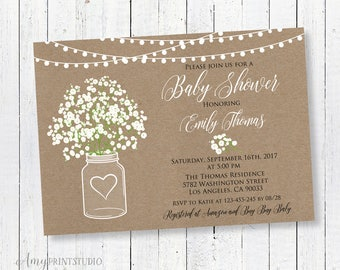 Baby Shower Invitation, Rustic Baby Shower Invitations, Baby's Breath Invitation, PERSONALIZED, Digital file, #A18