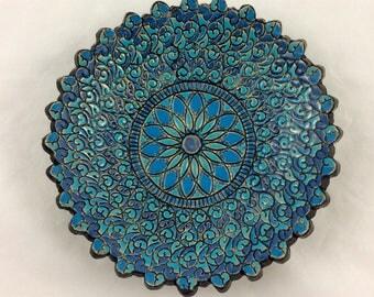Blue mandala dish