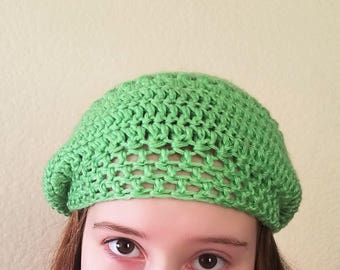 Lime Green Crocheted Slouch Hat for Teens to Adult