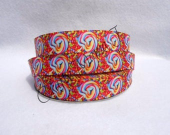 "SALE Candy of Lollipops & Jelly Beans 7/8"" Grosgrain Ribbon by the yard. Choose between  3/5/10 yards. Sugar Shack, Candy Shop.  Sweets"