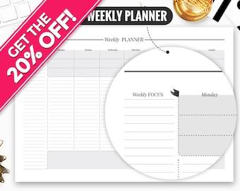Weekly Planner Printable, Weekly Planner, Weekly Planner Notepad, Weekly Planner Pad, Weekly Planner 2017, Weekly Planner Sheets, Weekly Pad