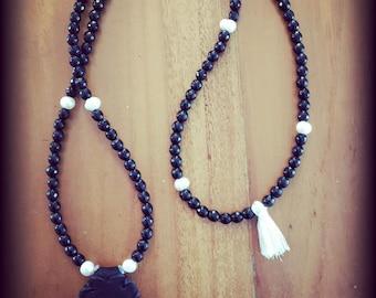 "Necklace semi precious stones breslev rabbi Nahman with original ""pétek"""