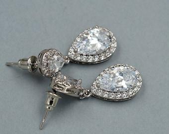 Wedding Bridal Drop Dangle earrings 18K White Gold Plated Cubic Zirconia