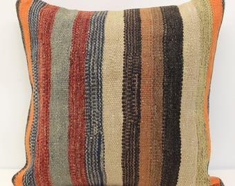 Turkish handmade kilim pillow cover 18x18 throw pillow accent pillow bohemian pillow cover decorative cushion cover