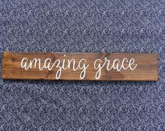 Amazing Grace Wood Sign