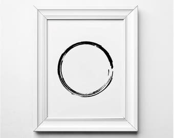 Minimalist Wall Art, Brush Stroke Circle Art Print, Printable Poster, Brushstroke Minimalist Wall Art, Black and White Modern Art, Circle