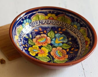 Large bowl, salad bowl, terracotta dish, handpainted Portugal