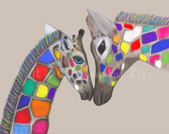 Colourful Giraffe with Baby Print