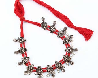 German silver red cotton thread necklace