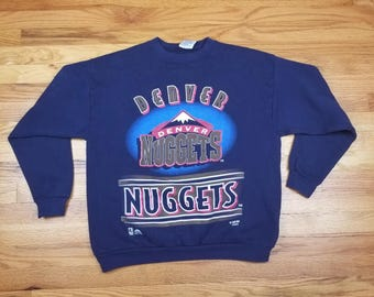 Vintage 90s Denver Nuggets Sweatshirt Sweater Shirt Size Large