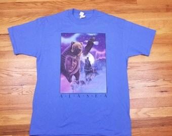 Vintage 90s NWT Alaska Wolf Bear Eagle Shirt Size XL